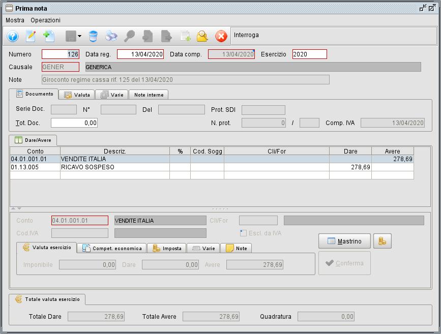 Esempio giroconto regime per cassa - Software gestionale Atlantis Evo