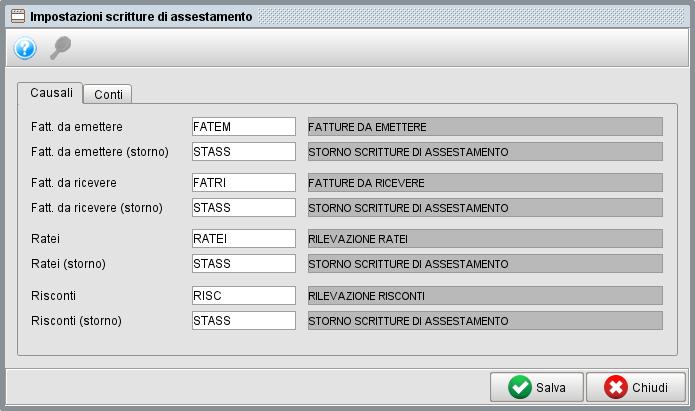 Impostazione scritture rettifica 1 - Software gestionale Atlantis Evo