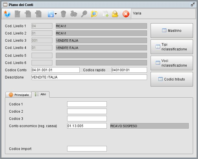 Conto economico sospeso - Software gestionale Atlantis Evo