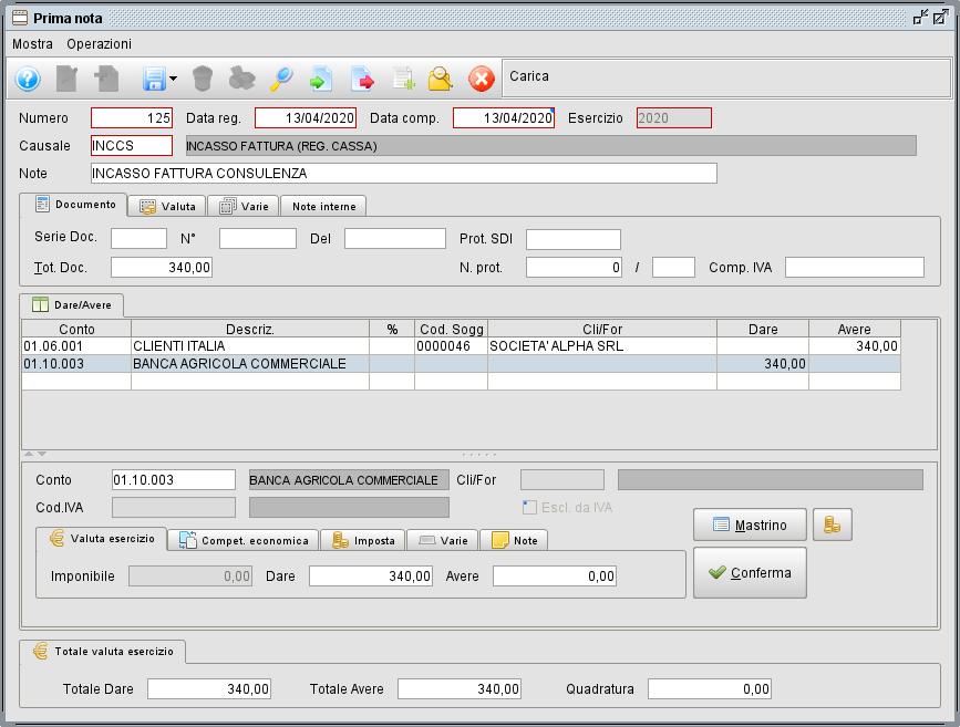 Regisrazione incasso in regime per cassa- Software gestionale Atlantis Evo