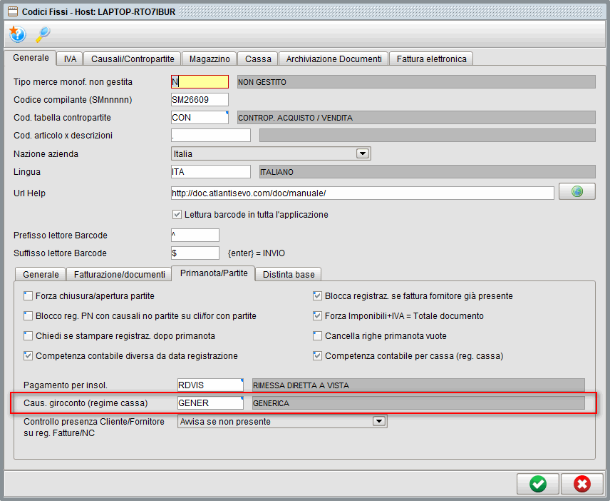 Causale giroconto conti sospesi - Software gestionale Atlantis Evo