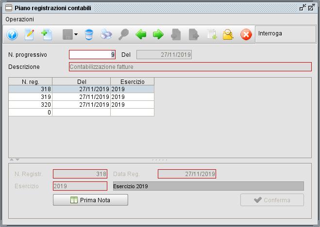 Piano registrazioni contabili - Software gestionale Atlantis Evo