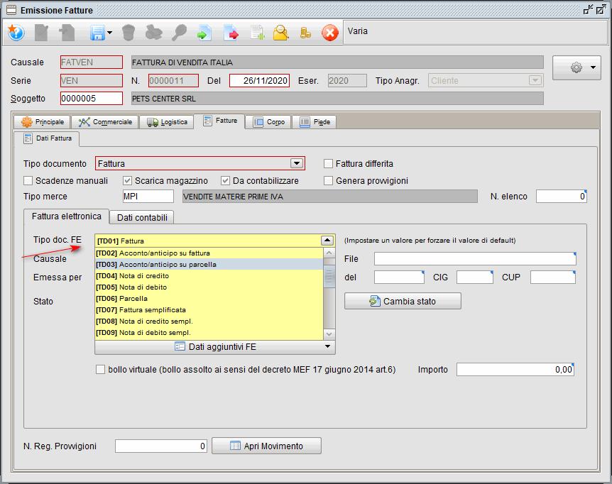 Fattura elettronica cambio codice tipo documento | Gestionale Atlantis Evo