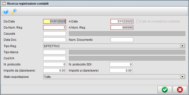 Ricerca registrazioni Prima nota   Software contabilità Atlantis Evo