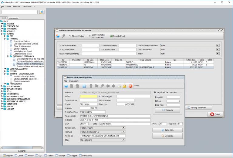 Gestione fattura elettronica con il software gestionale Atlantis Evo